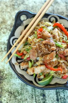 Keto Crispy Pork & Noodle Stir Fry is low carb, dairy free, nut free, egg free - sub chicken, shrimp or even tofu!