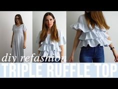 DIY triple ruffle top from dress refashion - YouTube