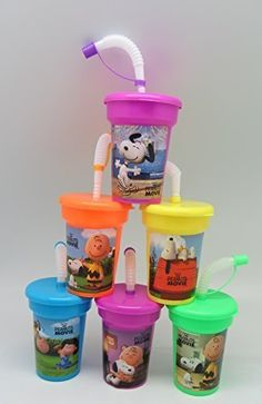 6 Peanuts Snoopy Charlie Brown Stickers Sipper Cups with lids Party Favor - OneStopBirthday.Com