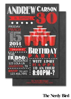 Red Solo Cup Beer Pong Design with Chalkboard Design Printable Birthday Invitation