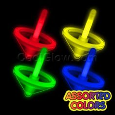 Glow in the dark assorted colors spinning tops!