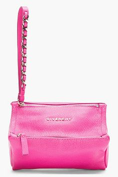 GIVENCHY Pink Leather Small Pandora Wristlet Clutch