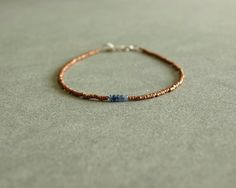 Copper Sapphire Bracelet, genuine sapphire small beads, tiny African copper beads, sterling, minimalist, natural real sapphire jewelry  https://www.etsy.com/shop/bluegreenjewels