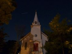 St Paul's by Moonlight in Ohio - notice the satellite passing overhead to the left of the steeple. June 14 2011