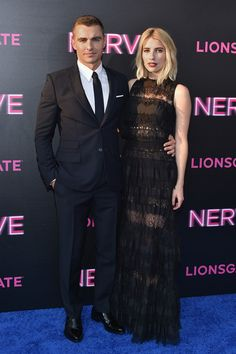 Actors Dave Franco and Emma Roberts attend the 'Nerve' New York Premiere at SVA Theater.