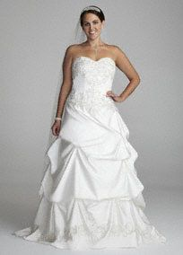 Look like a true princess in this luxurious satin ball gown.  Sweetheart bodice isfeminine and flattering.  Beaded lace detail throughout the gown adds a touch of romance and sparkle.  Pick-up satin ball gownskirtis dramatic and glamorous.  Chapel train. Ivory available in limited stores or by Special Order. White available by Special Order in stores.  Also available in Petite sizes, 0P-16P,Style 7WG3239,  (special order only); and Missy Style WG3239.  Fully ...