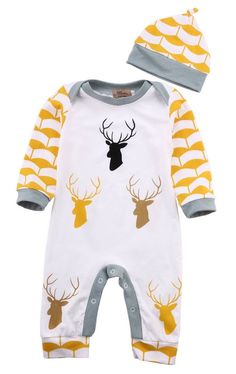 Deer Antler Winter Bodysuit With Matching Hat For Newborn, Baby, and Boys