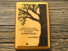 SCRIPTURES WITH TREES IN THEM | Burned Wood Tree Wall Art Hanging Plaque with Inspirational Bible ...