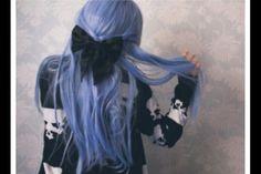 #indie hair #light blue #bow #scene