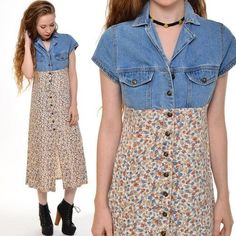 forget the shoes but a nice idea for denim and floral dress makeover.would make it more tunic length with the bottom back piece gathered for ease, possible even done with a long sleeve shirt. Diy Clothing, Sewing Clothes, Dress Makeover, Estilo Hippie, Mode Jeans, Denim Crafts, Altered Couture, Shirt Refashion, Recycled Denim