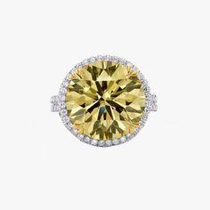 Leibish extraordinary fancy round diamond halo ring, price upon request, leibish.com