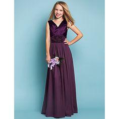 Lanting+Bride®+Floor-length+Chiffon+/+Stretch+Satin+Junior+Bridesmaid+Dress+Sheath+/+Column+V-neck+Natural+withFlower(s)+/+Sash+/+Ribbon+–+USD+$+59.99