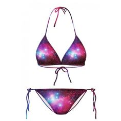 23deebb171e48 Sexy Galaxy Print Halter with String Bikini Set (11 AUD) ❤ liked on Polyvore