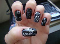 Sons Of Anarchy by Stoneycute1 - Nail Art Gallery nailartgallery.nailsmag.com by Nails Magazine www.nailsmag.com #nailart