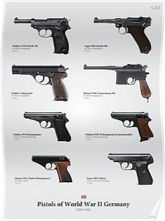 'Pistols of World War II Germany' Canvas Print by nothinguntried Armadura Cosplay, Ww2 Weapons, German Soldiers Ww2, Weapon Concept Art, Cool Guns, Military Weapons, Guns And Ammo, Military History, World War Two