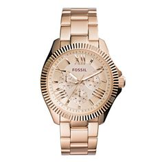 Fossil Ceclie Multi-Function Rose Dial Rose Gold Steel Ladies Watch ($81) ❤ liked on Polyvore featuring jewelry, watches, roman numeral jewelry, water resistant watches, bezel watches, crown jewelry and fossil jewelry