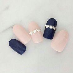 Blue and pink nails Navy Nails, Matte Nails, Pink Nails, Bridal Nails, Wedding Nails, Gorgeous Nails, Pretty Nails, Luxury Nails, Japanese Nails