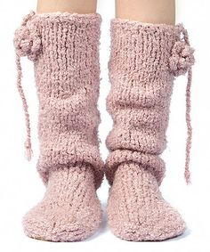 Another great find on #zulily! Silver & Strawberry Misty Boucle Mukluk Slippers #zulilyfinds