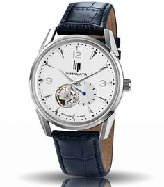 montre lip himalaya automatic silver blue bracelet bleu 671255 luminescente