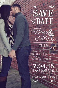 Vintage Save the Date Photo Template with Calendar.  Printable. Etsy $18.