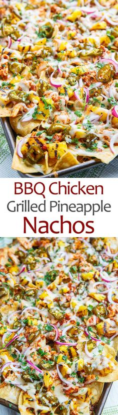 BBQ Chicken and Grilled Pineapple Nachos Recipe : BBQ chicken nachos with grilled pineapple, candied jalapenos and plenty of melted cheese! I Love Food, Good Food, Yummy Food, Grilled Bbq Chicken, Chipotle Chicken, Bbq Chicken Nachos, Grilled Pineapple Chicken, Cooked Chicken, Mexican Chicken