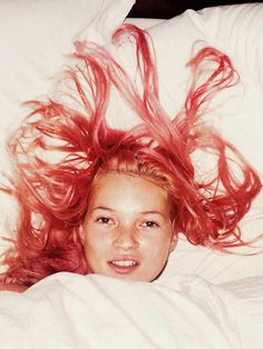 Kate Moss looks undeniably cool with pastel hair.
