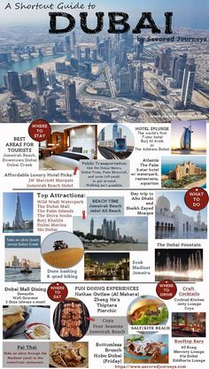 Shortcut Travel Guide to Dubai - use this fun infographic to help you plan your trip to Dubai Abu Dhabi, Bucket List Destinations, Travel Destinations, Travel Advice, Travel Guides, Travel Divas, Dubai Travel Guide, Dubai Vacation, Dubai Trip