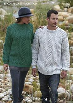Ravelry: Unisex Cabled Sweaters -Bonus Aran pattern by Hayfield