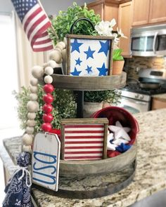of July / independence day patriotic Rustic farmhouse style sign set WITH wooden bead garland! Fourth Of July Decor, 4th Of July Decorations, 4th Of July Party, Table Decorations, July 4th, Independance Day, Tiered Stand, July Crafts, Beaded Garland