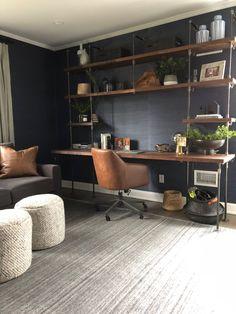 Butcher Block Office Desk Built-In – home office design layout Mesa Home Office, Home Office Space, Home Office Desks, Home Office Furniture, Office Walls, Modern Home Offices, Small Home Offices, Vintage Home Offices, Rustic Home Offices