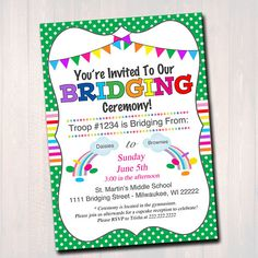 Girl scout bridging ceremony invitation brownies to by magnetaria bridging invitation instant editable girl scout bridging from daisies to brownies to juniors troop bridging ceremony girl scout printable stopboris Gallery