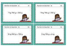 Aufgabenkarten Rechnen mit Sorten, 3. Klasse