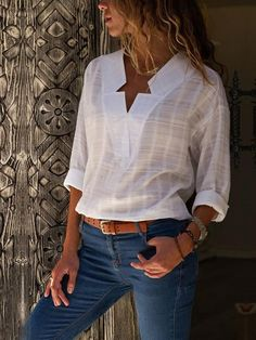 60bb34ece5f9 Fashion V-Neck Irregular Plaid Long-Sleeved Blouse Manica Ad Ala Di  Pipistrello