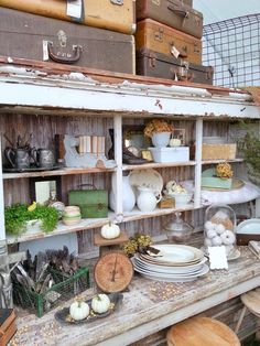 must love junk: The Country Living Fair 2014 idea...separate 2 yellow cabinets..use on table.