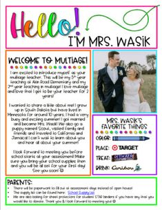 Back to School is here! Use this editable Meet the Teacher Flyer to send out to parents or have for them at Open House/Meet the Teacher night! This is an editable PowerPoint file where you can edit the text to meet your needs. Teacher Welcome Letters, Letter To Teacher, Letter To Parents, Parents As Teachers, Teacher Introduction Letter, Meet The Teacher Template, Curriculum Night, Teacher Forms, Teacher Freebies