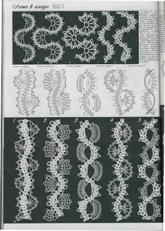 Crochet ribbons ~ link to page of images. Scroll down for these images from a book or magazine. Hairpin Lace Crochet, Crochet Lace Edging, Crochet Motifs, Crochet Borders, Freeform Crochet, Crochet Stitches Patterns, Crochet Chart, Lace Patterns, Thread Crochet