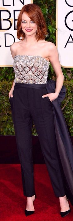Emma Stone 2015 Golden Globes Jealous Of You, Emma Stone, Golden Globes, Fashion Inspiration, Personal Style, Cool Outfits, Jumpsuit, Glamour, Chic