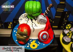 Amazing cake at a Avengers birthday party! See more party planning ideas at CatchMyParty.com!