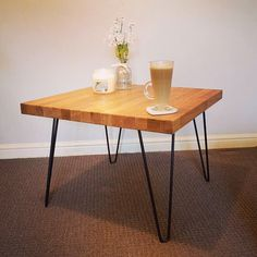 Fresh out of the Kiwi Woodwork workshop! Solid Oak hairpin table, you can buy this one of a kind piece!