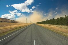 Driving towards a dust storm