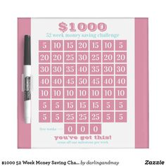 1000 52 Week Money Saving Challenge in Sea Pink and Summer Blue Printed on reusable Dry Erase Board 52 Week Money Challenge, Savings Challenge, Memo Boards, Ways To Save Money, Money Saving Tips, Managing Money, Money Hacks, Saving Ideas, Money Tips