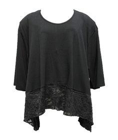 AKH Fashion Lagenlook elegantes Oversize Shirt mit Spitze in schwarz XXL Mode bei www.modeolymp.lafeo.de
