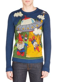Gnome Away From Home Men's Sweater - Knit, Mid-length, Multi, Novelty Print, Quirky, Long Sleeve, Better, Crew, Multi, Long Sleeve, Blue, Ca...