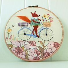 Mrs Fox Embroidery Hoop Cute and Whimsical Pretty Etsy Embroidery, Embroidery Designs, Wooden Hoop, Crochet Collar, Metal Hangers, Hand Applique, Linen Bag, Needle Felting, Whimsical