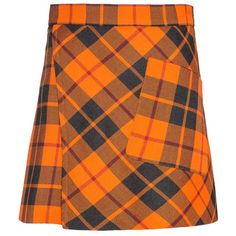 WOOL CHECK WRAP SKIRT ❤ liked on Polyvore featuring skirts, orange skirt, checked skirt, woolen skirt, checkered skirt and checkerboard skirt