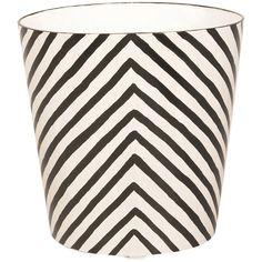 Worlds Away  Oval Wastebasket Cream And Black Zebra