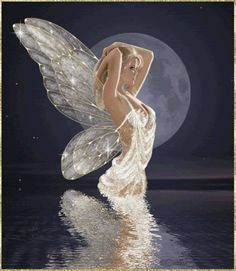 Shimmer...#fairy #faerie #fantasy #art #white #reflection #water #moon