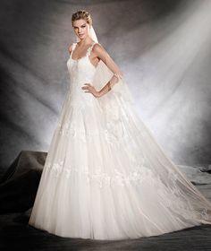 OLESIA - Vestido de novia de estilo princesa y escote redondo
