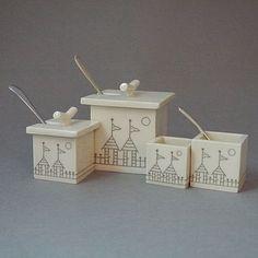 Beach Huts Ceramic Chutney Box