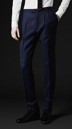Skinny Fit Broken Pinstripe Wool Trousers | Burberry